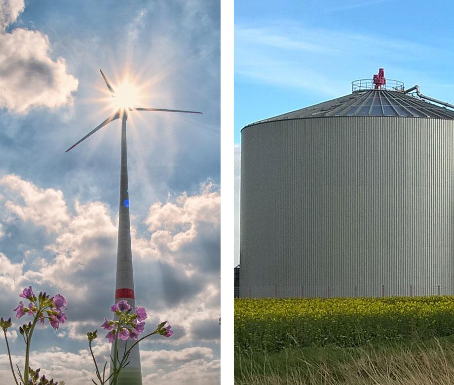 windrad und biogasanlage